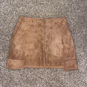 Helmet Lang suede leather skirt